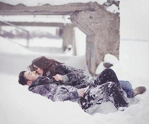 couple, snow, and happiness image