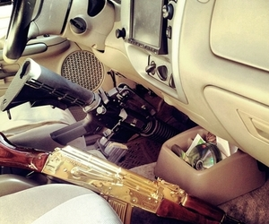 car, gun, and luxury image