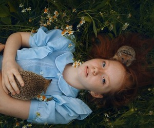 girl, redhead, and hedgehogs image
