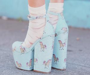 shoes, unicorn, and blue image