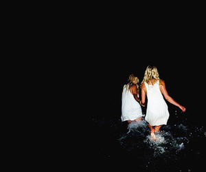 girl, water, and night image