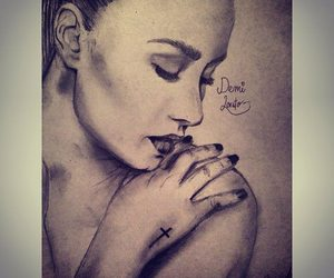 drawing, art, and demi lovato image