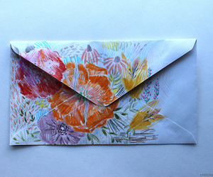 art, flowers, and envelope image