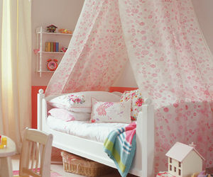 bedrooms, canopy, and pink image