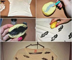 mustache, diy, and t-shirt image