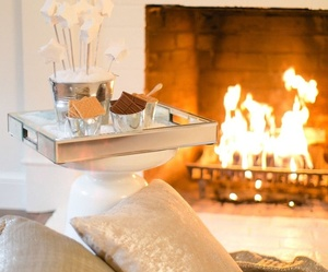 fireplace, home, and winter image