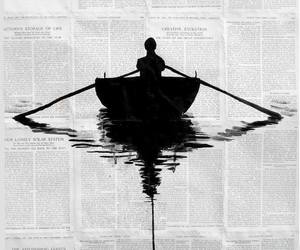 art, boat, and newspaper image