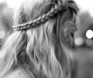 girl, braid, and black and white image