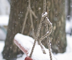 snow, winter, and swing image