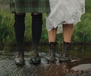 boots, couple, and nature image
