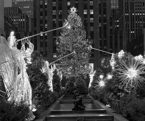 beautiful, black and white, and merry christmas image