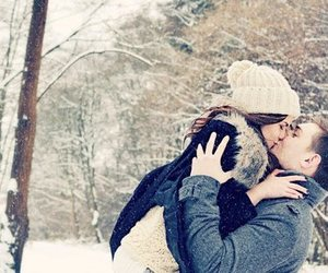 love, kiss, and snow image