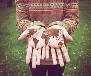 world, hands, and tattoo image