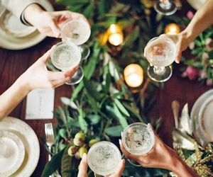 christmas, dining, and glasses image