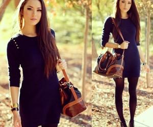 autumn, beautiful, and blue dress image