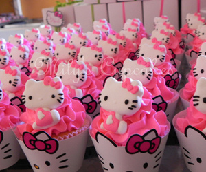 hello kitty, cupcake, and pink image
