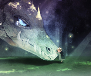 cry, dragon, and little boy image