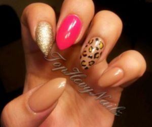 gold, leopard, and pink image