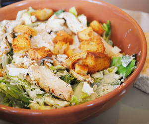 salad, panera bread, and chicken caesar image