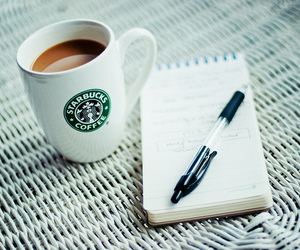 starbucks, coffee, and notebook image