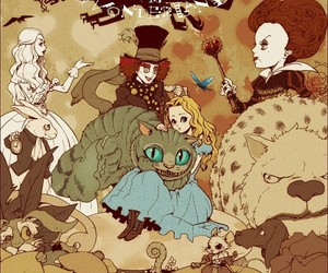 alice in wonderland, alice, and mad hatter image