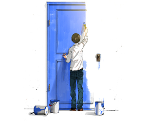 anime, door, and blue image