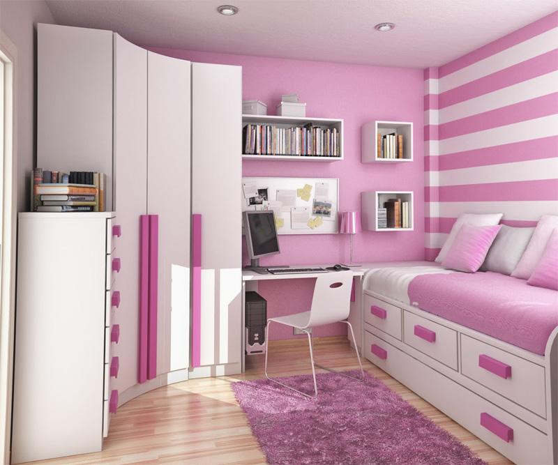 Bright Purple White Charming Small Teenage Bedroom Ideas