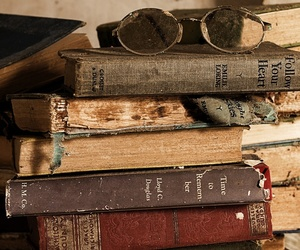 books, glasses, and old image