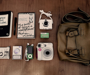 camera, bag, and book image
