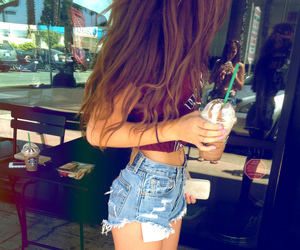 girl, starbucks, and hair image