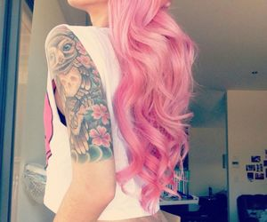 curly, hair, and pink image