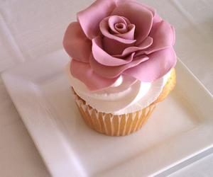 cupcake, rose, and dessert image