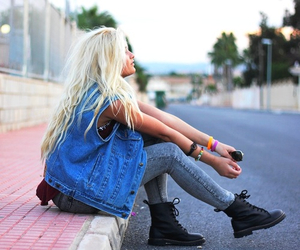 blonde, girl, and style image