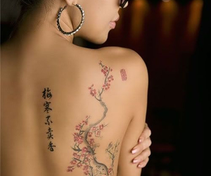 cherry blossoms, tattoo, and flowers image