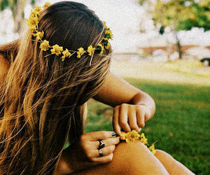 flowers, hair, and love image