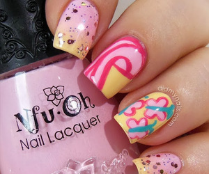 pink, cute, and fluttershy nail art image