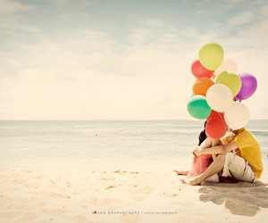 love, balloons, and beach image