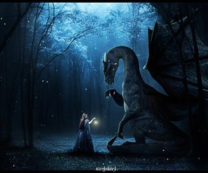 blue, dragon, and woods image