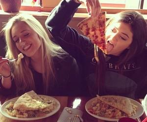friends, pizza, and food image