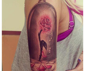 rose, tattoo, and beauty and the beast image