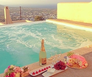 pool, summer, and flowers image