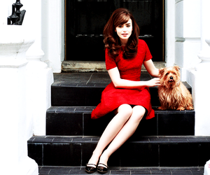 lily collins, dog, and red image