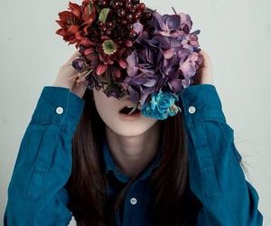 blue, flower, and girl image