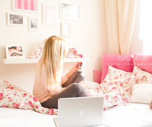 pink, girl, and bedroom image