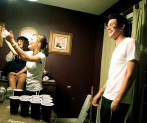 alcohol, beer pong, and girl image