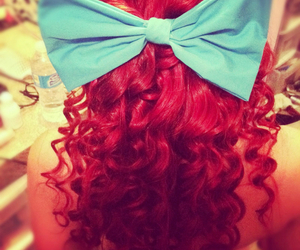 long, curly red hair, and cute bow image