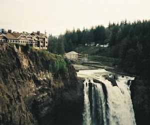 waterfall, nature, and house image