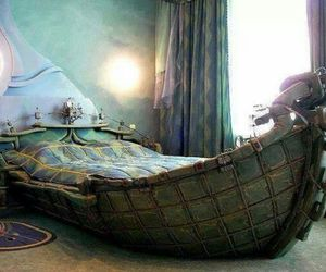 bed, boat, and bedroom image