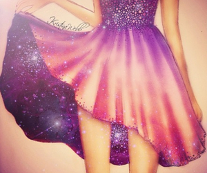 dress, drawing, and galaxy image