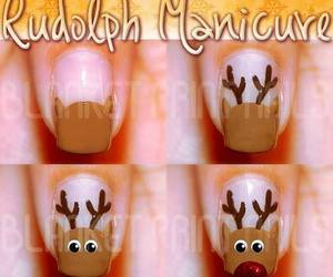 nails, rudolph, and christmas image